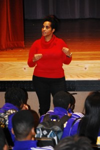 Speakers Bureau member Sonovia Petty speaks to students at Chicago's Collins Academy High School about her experiences.